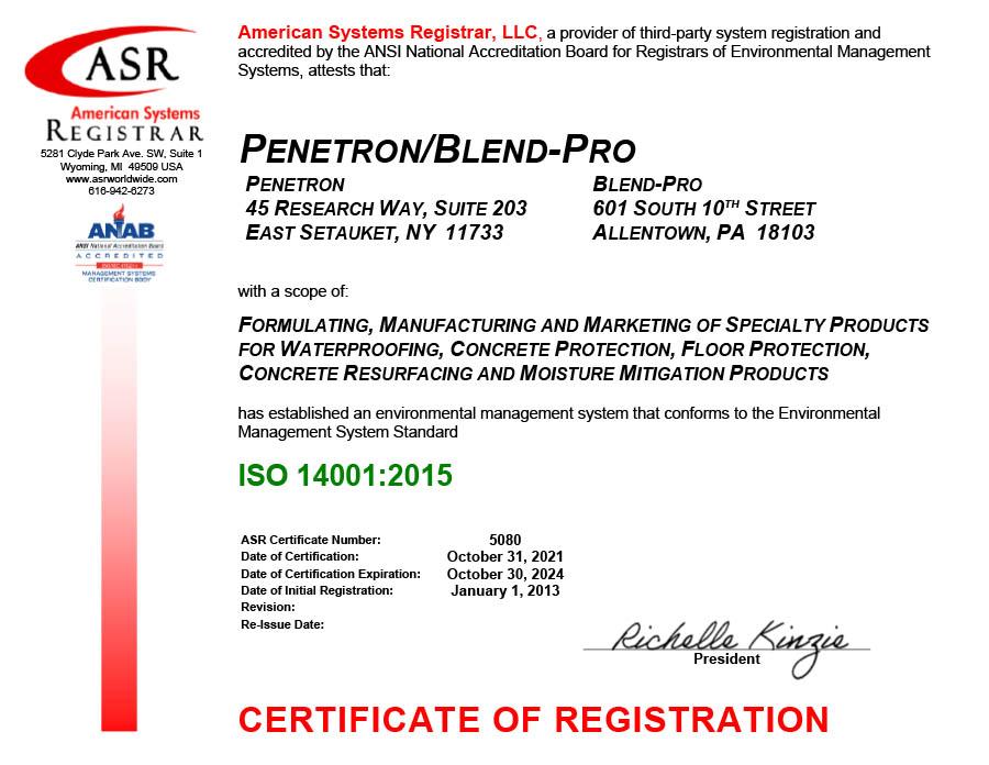 Penetron International Certificate ISO 14001