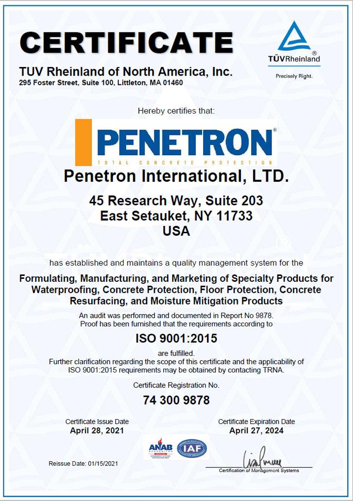 Penetron International Certificate ISO 9001